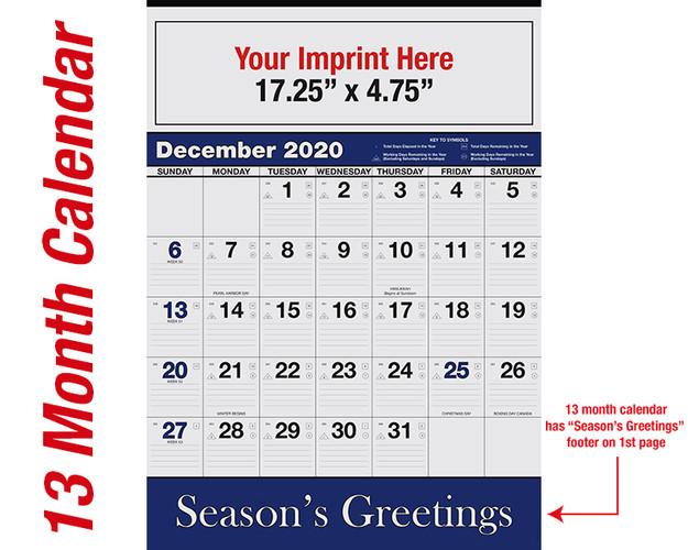 WA102 Black+Reflex Blue 13 month calendar