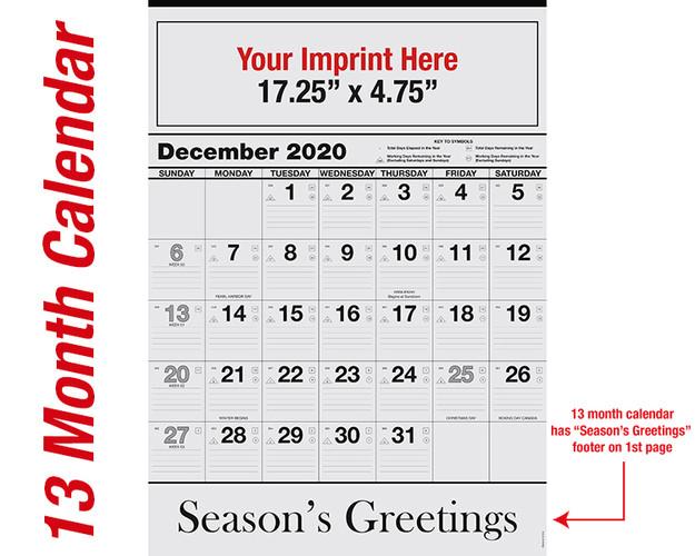 WA101 Black Base 13 mo. calendar