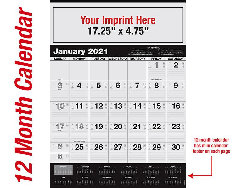 WA102 Black Base 12 month calendar