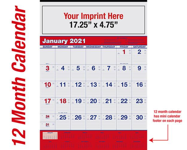 WA102 Reflex Blue & PMS 185 Red - 12 month calendar