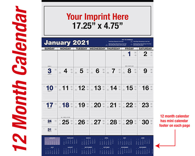WA102 Black+Reflex Blue 12 month calendar