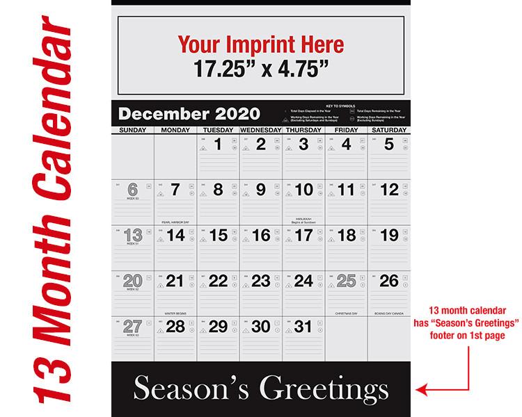 WA102 Black Base 13 month calendar