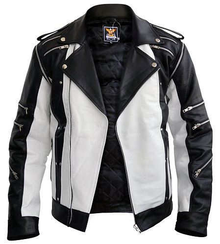 麥克杰克遜黑與白真皮夾克  Michael Jackson White Leather Jacket