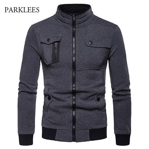 時尚站領拉鍊夾克 Irregular 4 Pocket Designed Jacket