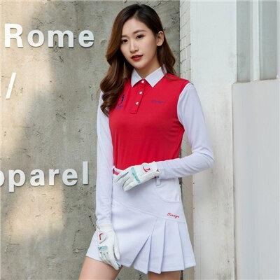 女子長袖撞色訓練機能高爾夫球衫 Women's Long Sleeve Training Function Golf Shirt