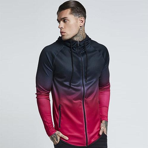 男性漸層宇宙光譜運動連帽外套Men's gradient cosmic spectrum sports hooded jacket