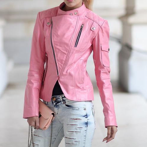 女士粉紅色手工皮夾克 Women Pink Handmade Leather Jacket