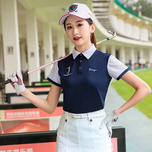 女子專業機能撞色高爾夫POLO衫 Women's Professional Function Contrasting Golf Polo Shirt