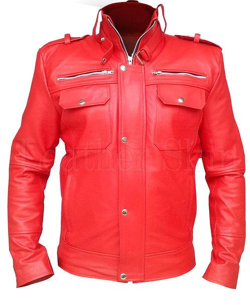 經典紅啞光重機真皮夾克Classic red matte heavy machine leather jacket