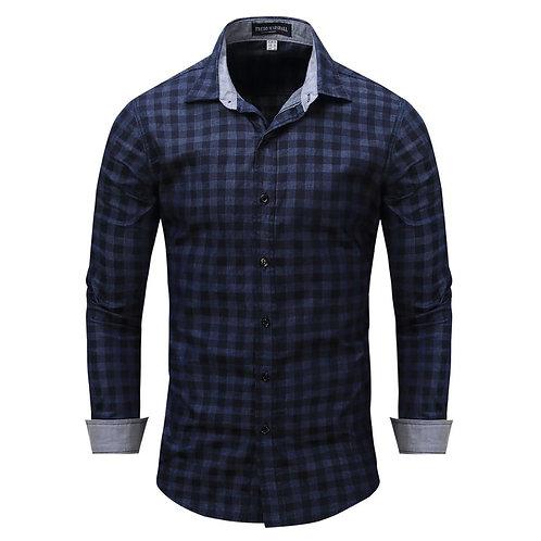 100%純棉時尚獨特個性長袖條紋商務襯衫100% Cotton Fashion Unique Personality Denim Shirt