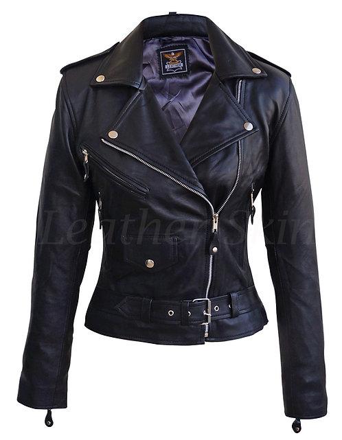 黑色自由女騎士真皮夾克 Women Black Freedom Biker Jacket