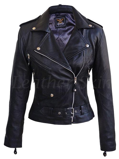 女士黑色騎士真皮夾克 Women Black Biker Jacket