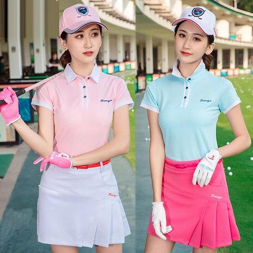 女子純色專業機能高爾夫上衣 Women's solid color professional functional golf top