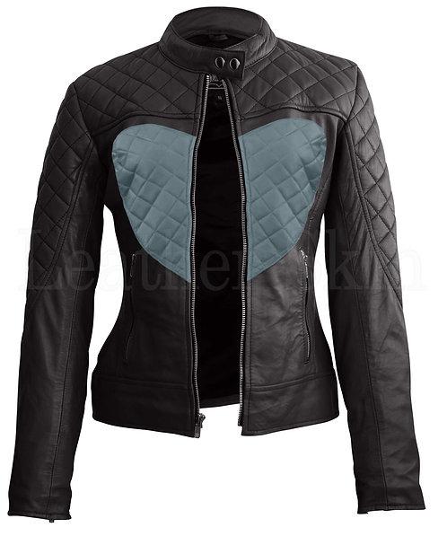 灰色愛心女性真皮夾克  Grey heart Women's Leather Jacket