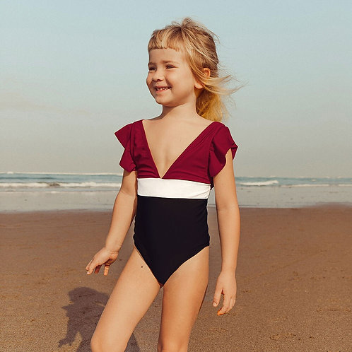 荷葉V領連身泳衣(孩)Lotus leaf V-neck swimsuit (child)
