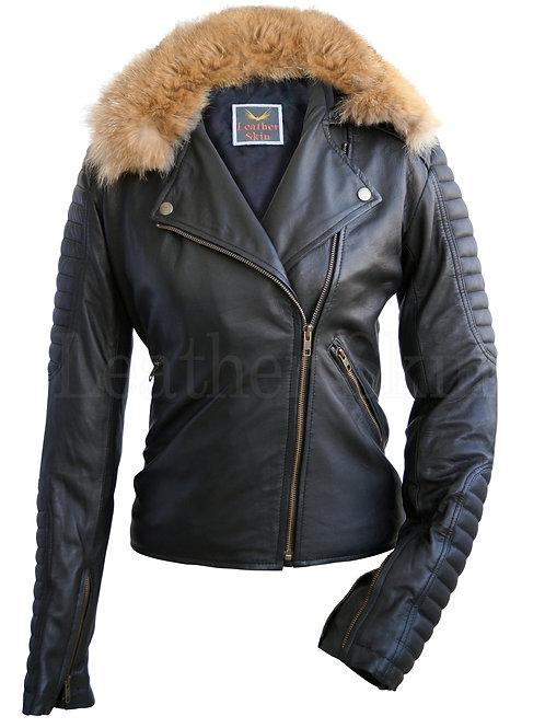 女士黑色狐狸皮草真皮夾克 Black Women Fox Fur Leather Jacket