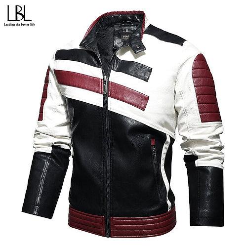 斜紋拼接搖粒絨時尚騎士保暖PU夾克 Twill stitching polar fleece fashion knight warm PU jacket