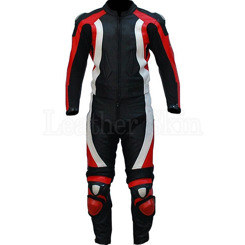 經典紅白賽車真皮外套Classic red and white racing leather jacket