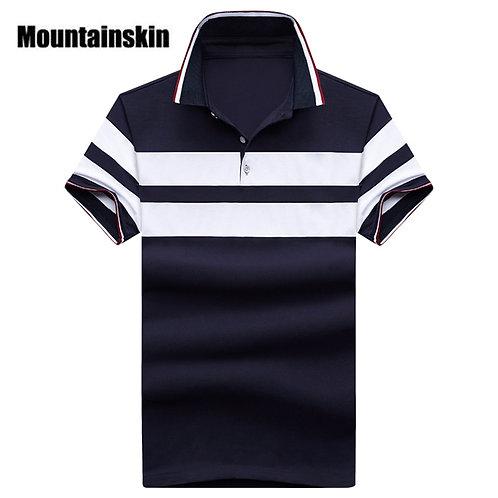 夏季條紋純棉彈性萊卡短袖Polo衫 Turn down Collar Polo Shirt