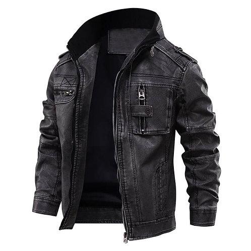 水洗牛仔仿皮騎士外套 Washed denim faux leather rider jacket