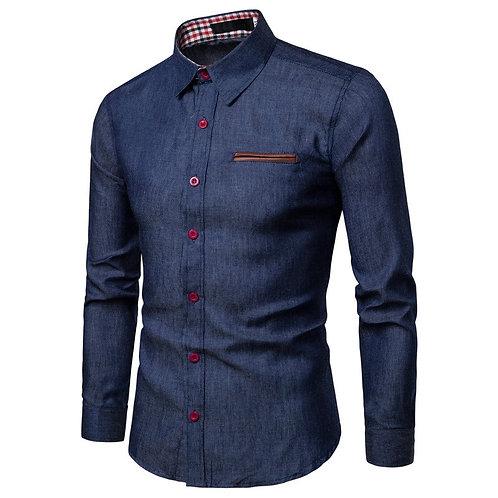 男士頂級100%純棉牛仔襯衫Men Slim Fit Jeans Shirt