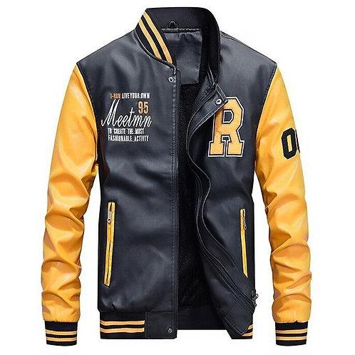 棒球修身頂級紡皮革外套 Bomber Baseball Slim Fit PU Coat