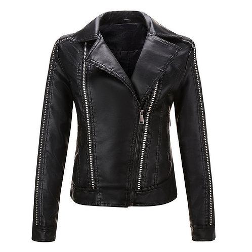新款秋季時尚V領修身女皮夾克 V Neck Slim Leather Jacket