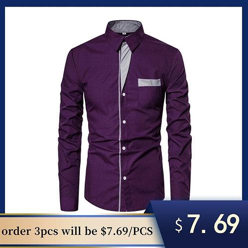 長袖商務社交襯衫拼布男襯衫Business Social Patchwork Shirt