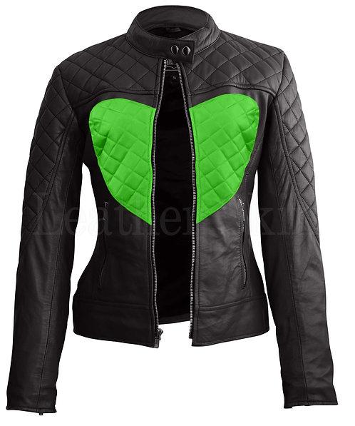 青蘋果色愛心女性真皮外套Apple green  heart Women's Leather Jacket