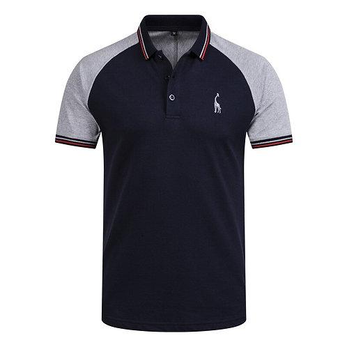 斜肩拼布修身POLO 衫 Slim Fit Polo Shirt