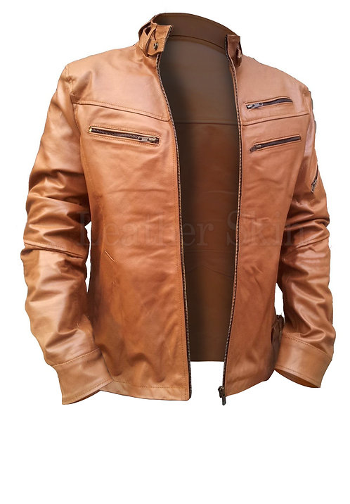 美式淺棕色男士真皮夾克 American light brown men's leather jacket