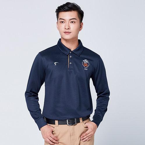 高爾夫純色長袖速乾排汗POLO衫 Golf solid color long-sleeved quick-drying POLO shirt