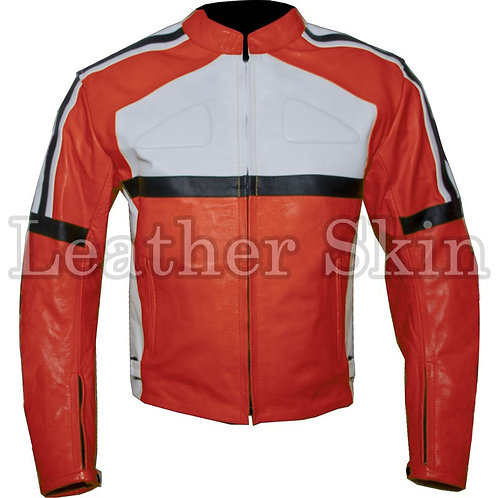 橘色賽道真皮夾克 Orange Biker Racing Leather Jacket