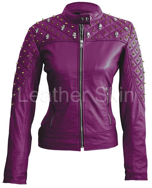 紫色金鉚釘嵌骷髏頭真皮夾克Purple gold studded skull leather jacket
