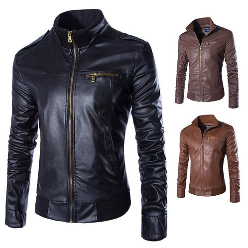 高質感商務仿皮外套 High-quality business faux leather jacket