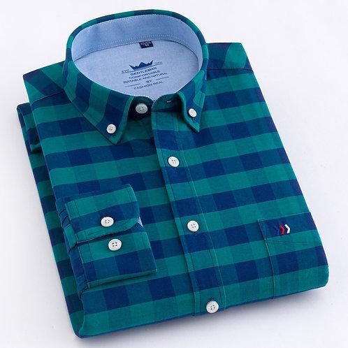 紳士牛津休閒衫Men's Casual Plaid Checkered Oxford Cotton Shirts