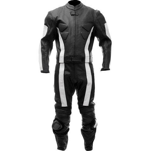 白色流線型重機真皮套裝White streamlined heavy machine leather suit