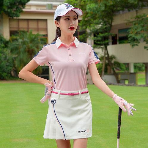 女子專業比賽高爾夫柔軟機能上衣+裙子套裝 Women's professional golf soft functional top + skirt suit