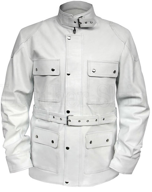 中性帥氣白色繫帶真皮外套Unisex handsome white belt leather jacket