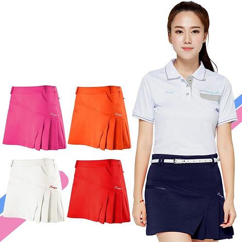 高爾夫純色造型側邊褶短裙 Golf solid color skirt with side pleated skirt
