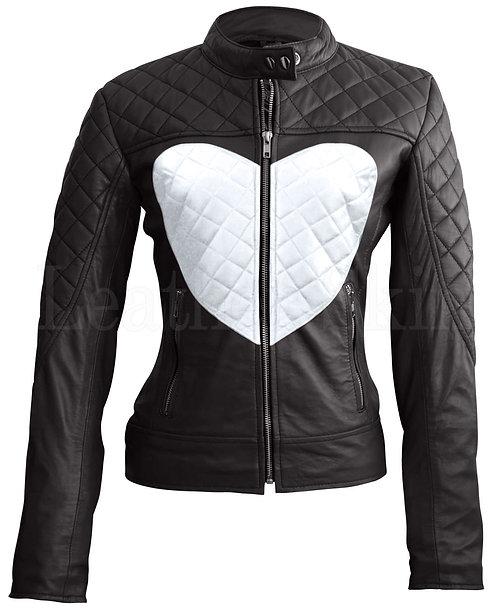 白色愛心女性真皮外套White Heart Women's Leather Jacket