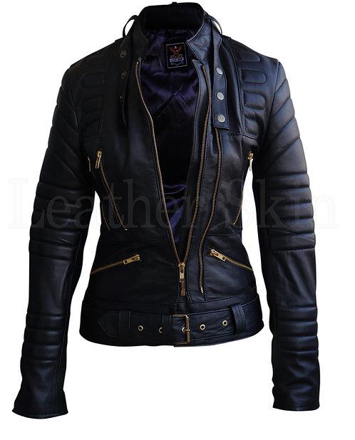 黑色豪華襯墊真皮夾克 Black luxury padded leather jacket