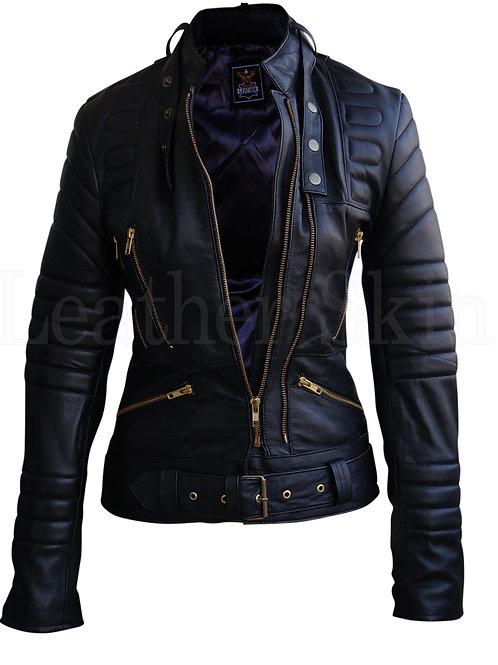女士黑色襯墊真皮夾克 Women Black Brando Padded Leather Jacket