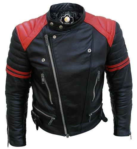 紅肩率性男性真皮外套 Red Shoulder Male Leather Jacket