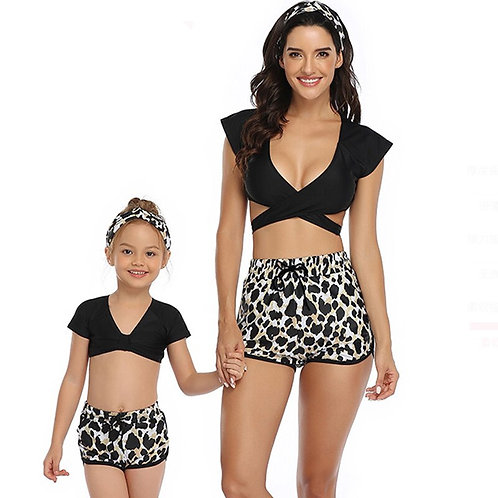 黑色旋風親子泳裝Black whirlwind parent-child swimwear