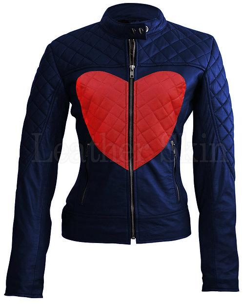 藍底紅心女性真皮外套Women's leather jacket with red hearts on blue background