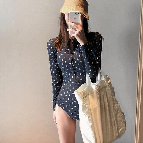 時尚長袖拉鍊泳裝連身水母衣Fashion long-sleeved zipper swimsuit one-piece jellyfish