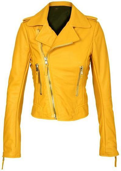 限量黃色女騎士皮夾克 Yellow Women Brando Biker Leather Jacket