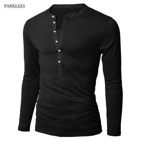 男士修身防皺長袖亨利Polo衫 New Trend Henry Polo Shirt