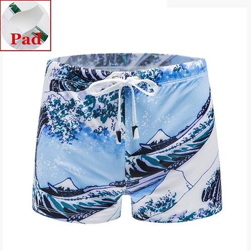 花漾型男印花平角泳褲(附護墊) Flowery Sportsman Printed Boxer Swim Shorts with pad